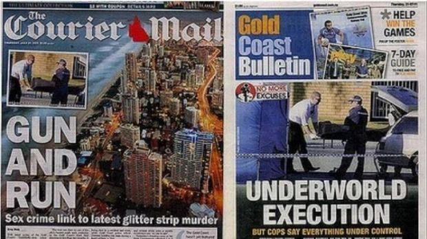 The Courier-Mail and Gold Coast Bulletin editions claiming shooting victim Colin Edgar Lutherborrow was involved in ...