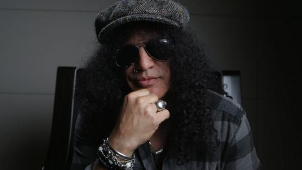 Tuning up: Slash will get the crowd going at ANZ Stadium for the NRL grand final.