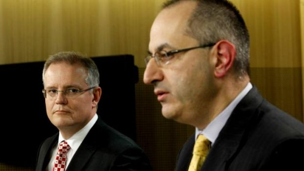 Minister for Immigration and Border Protection Scott Morrison and new Immigration Department boss Michael Pezzullo.