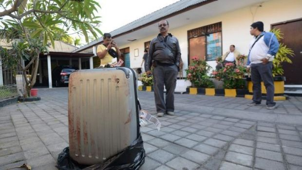 The suitcase displayed at a police station in Nusa Dua, Bali.