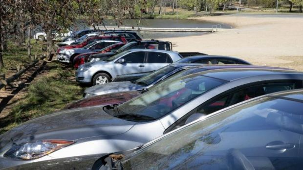 Cars parked near Lotus Bay in Yarralumla on the second day of pay parking in the Parliamentary triangle.