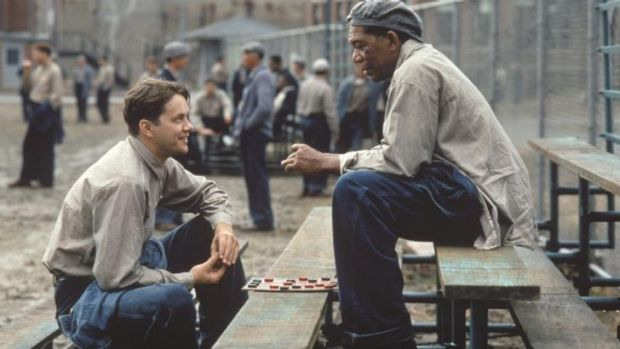 Tim Robbins, left, and Morgan Freeman play prisoners in <i>The Shawshank Redemption</i>.