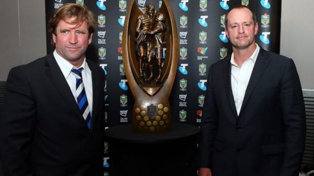 Within touching distance: Des Hasler and Michael Maguire in Sydney on Thursday.