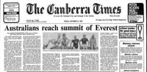 Page 1 of <i>The Canberra Times </i>from October 5, 1984, celebrating the first successful climb of Mount Everest by ...