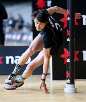 Oleg Markov during the agility test  at The AFL Draft Combine.