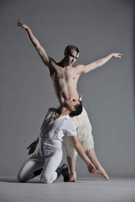 Chris Marney as The Prince and Richard Winsor as The Swan in Matthew Bourne's Swan Lake.