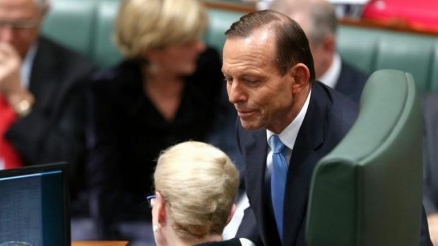 Prime Minister Tony Abbott in discussion with Speaker Bronwyn Bishop during question time.