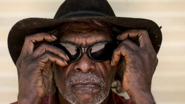 Jeffrey John of the Molgin community, wearing the sunglasses protect his eyes given to him by the Fred Hollows ...