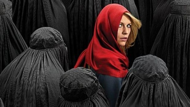 """Red Riding Hood lost in a forest of faceless Muslim wolves"": A <i>Homeland</i> 4 promotional picture."