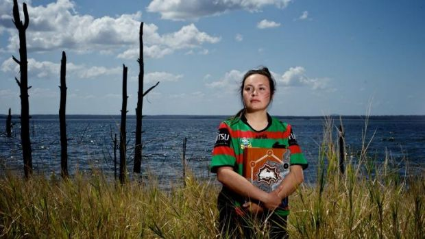 Talented: Karlie Stewart is extremely proud of her painting supporting South Sydney in their first grand final since 1971.