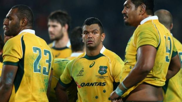 Tough run: Kurtley Beale looks shell-shocked after the loss to the All Blacks at Eden Park in August.