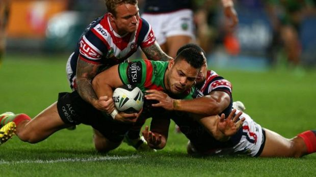 Te'o dots down against the Roosters in the preliminary final.