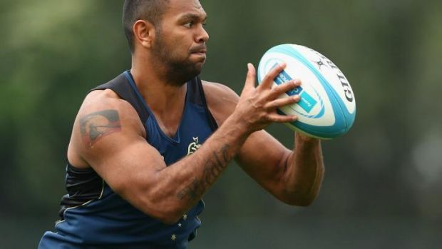 Up in the air: Wallabies utility back Kurtley Beale training in Mendoza.