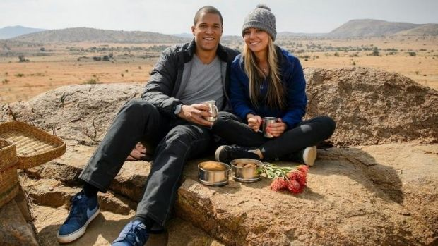 Split: Blake and Sam on a date in South Africa.