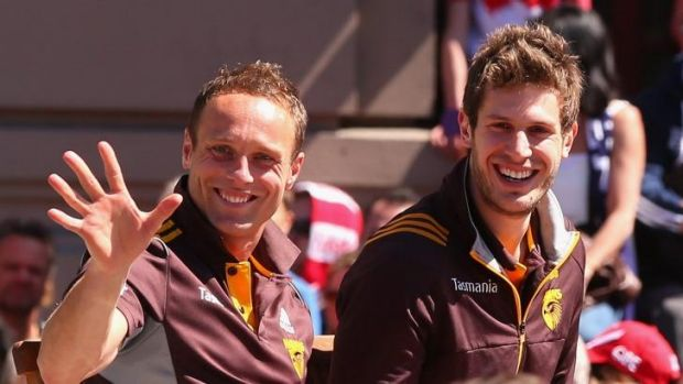 Sewell, left, during the AFL grand final parade.