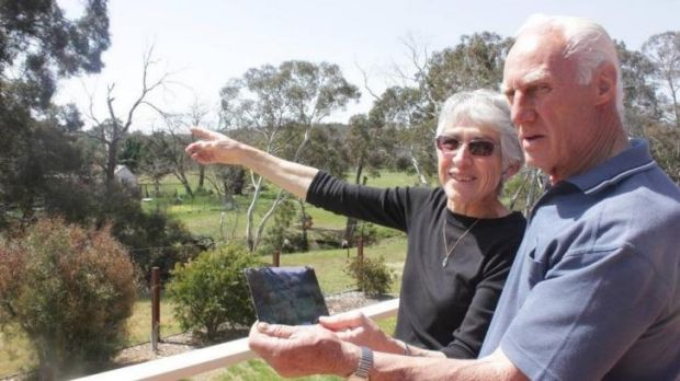 Ruth and Jeff Gulson on their balcony, where they saw the animal.