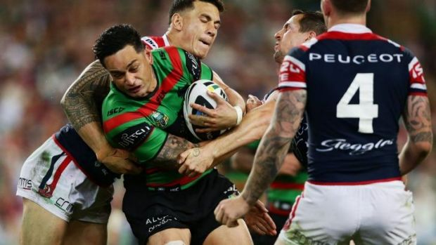 John Sutton in action against the Roosters in the preliminary final.