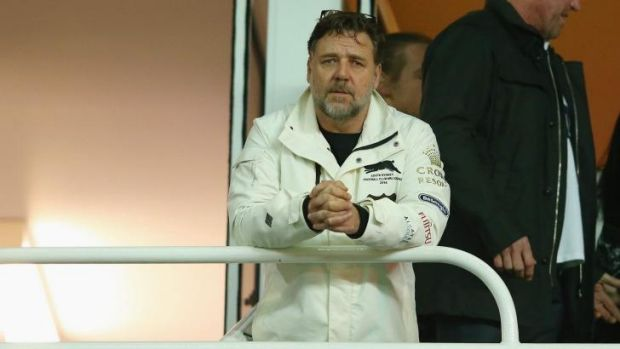 Diehard fan: South Sydney owner and long-time supporter Russell Crowe.