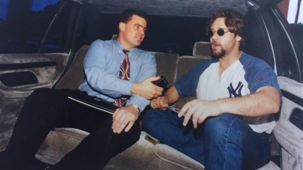 Back in 1995: Daniel Lane interviews Russell Crowe in the back of a limo in Sydney.