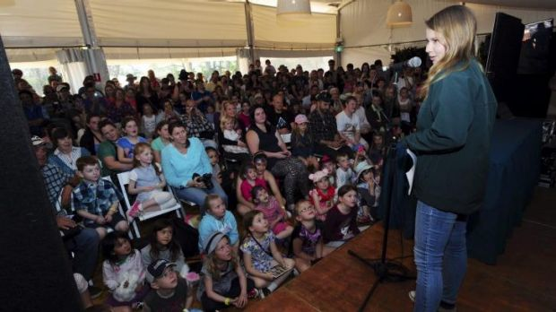 Message of conservation: Floriade ambassador, Bindi Irwin, gives a presentation to an admiring audience.