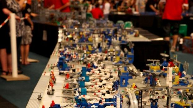 Fans check out the displays at the BrisBricks Lego Fan Expo.