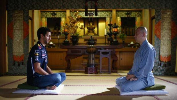 Daniel Ricciardo meditates at the Zenshoan Temple in Tokyo last week.