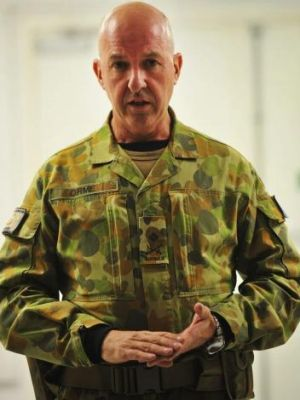 Major General Craig Orme addresses Australian Defence personnel at Camp Qargha, Afghanistan in 2013.