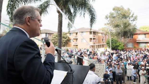 Federal Immigration Minister Sen  Scott Morrison speaks at Lakemba Mosque during Eid al-Adha.