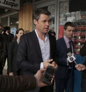 Rodger Corser as David McLeod on the campaign trail in <i>Party Tricks</i>.