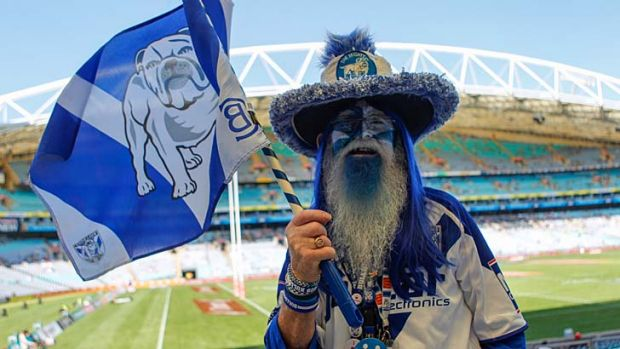 Bulldogs fan Stephen Ellis at ANZ Stadium for the  2014 NRL grand fInal.