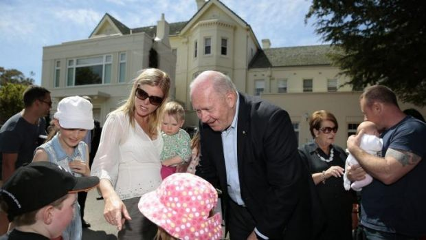 Governor-General Peter Cosgrove meets, rear from left, Paris Morris 12, Catherine Morris, Eleana Campbell, 1, front from ...