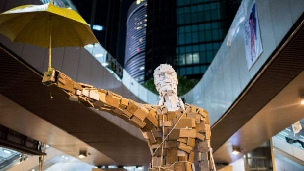 The 'Umbrella Man' statue outside the central government offices in Hong Kong.