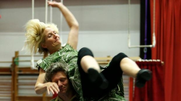 Kate Fryer and Geoffrey Dunstan from Dislocate rehearse at Circus Oz.