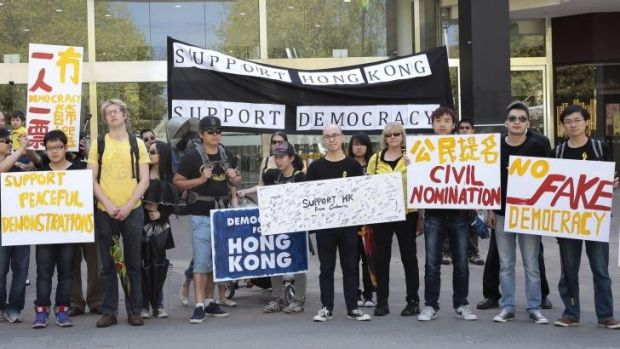 UNITED WE STAND: International students and other supporters of pro-democracy protesters in Hong Kong make their views ...