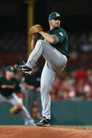 Tim Atherton in action for Australia against the Arizona Diamondbacks. He's returning to the Canberra Cavalry.