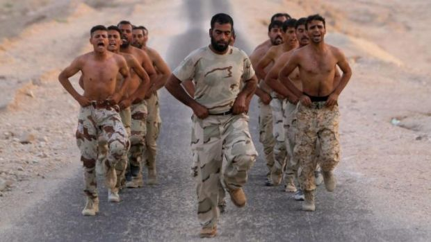 Overestimated: Iraqi Army volunteers undergo training in preparation for the IS assault.