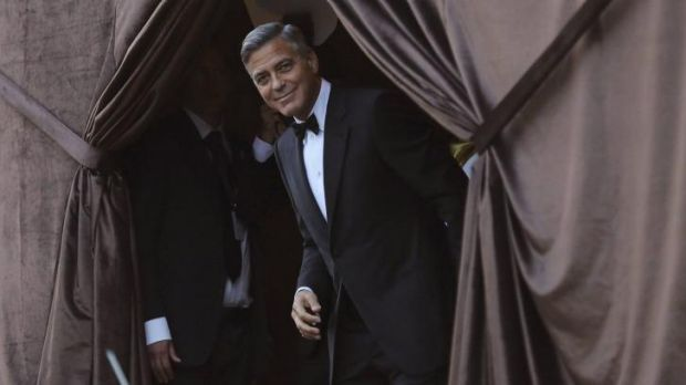 George Clooney waiting on his bride Amal Alamuddin ahead of their wedding.