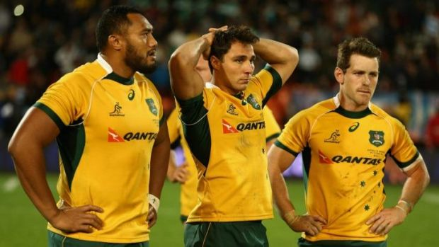 Tough tour: Sekope Kepu, Nick Phipps and Bernard Foley come to terms with the Wallabies' loss to Argentina.
