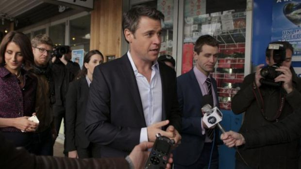 Rodger Corser on the campaign trail in <i>Party Tricks</i>.