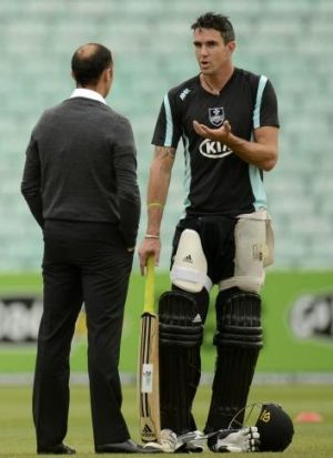 Kevin Pietersen with Nasser Hussain in 2013.