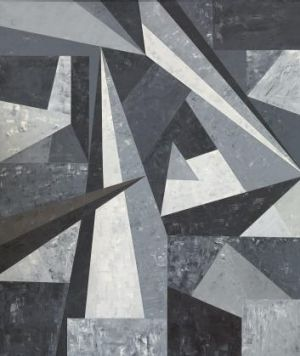 Urban dynamism: The surfaces seem like expressionistic terrazzo fragments in Robert Jacks' <i>Metropolis 6</i>, 1984.