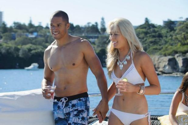 Boardshorts and bikinis: Blake pulls Rachel away from group date.
