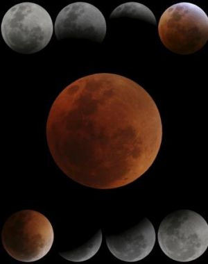 The previous lunar eclipse, with a red moon.