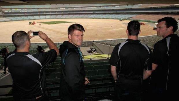 New Zealand players view the MCG, which is in preparation for the 2015 ICC World Cup.