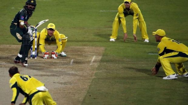 Pakistani batsman Fawad Alam prepares to play a shot against Nathan Lyon in the first One Day International cricket ...
