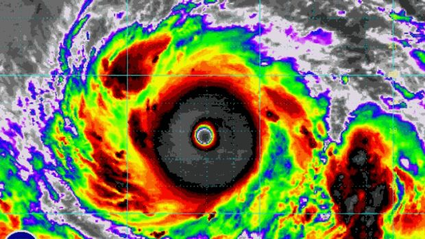 Fearsome sight: An enhanced image of Typhoon Vongfong.