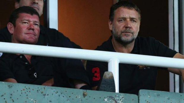 Bunny buddies: James Packer and Russell Crowe at a South Sydney game.