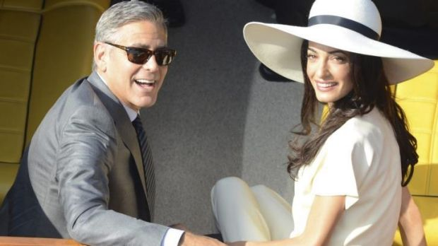 George Clooney and Amal Alamuddin after their civil marriage ceremony in Venice, Italy.