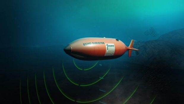 An illustration of a Fugro autonomous underwater vehicle searching for flight MH370.