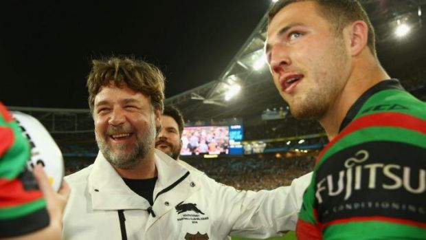 Sam Burgess with Rabbitohs owner Russell Crowe.